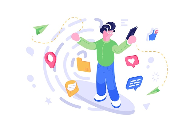 Illustration de communication de téléphone mobile de réseau social