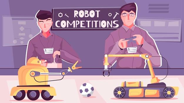 Illustration De La Compétition De Robot Vecteur gratuit
