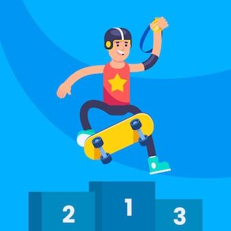 Illustration de compétition de skateboard plat
