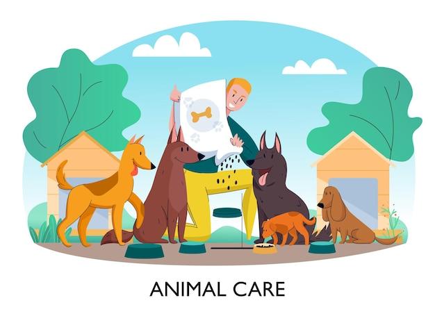 Illustration de composition de chien de refuge pour animaux