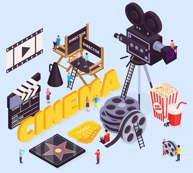 Illustration de composition de cinéma isométrique