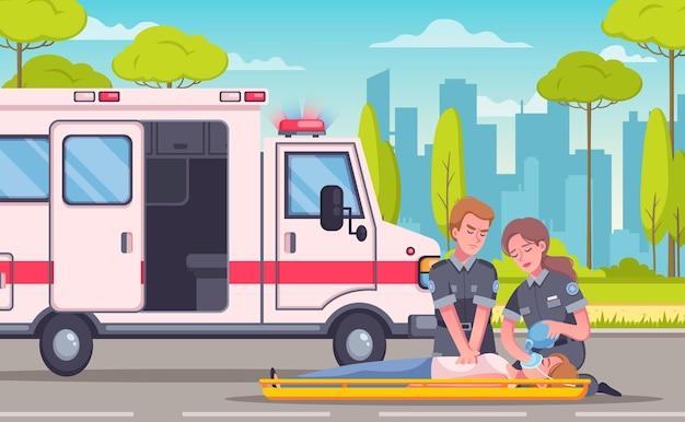 Illustration de composition de dessin animé ambulance ambulance paramédicale