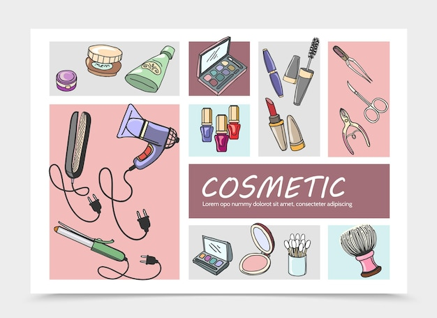 Illustration de composition d'éléments cosmétiques dessinés à la main