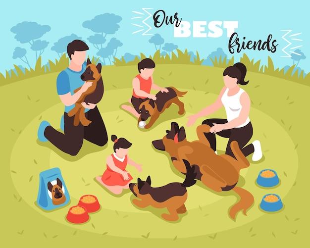 Illustration de composition de famille de chien isométrique