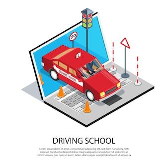 Illustration de composition de formation en ligne école de conduite isométrique