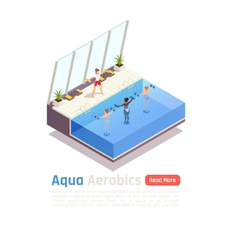 Illustration De Composition Isométrique De Cours De Remise En Forme De Groupe D'aquagym Vecteur Premium