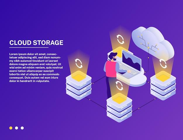 Illustration de la composition isométrique du service cloud en ligne du centre de données