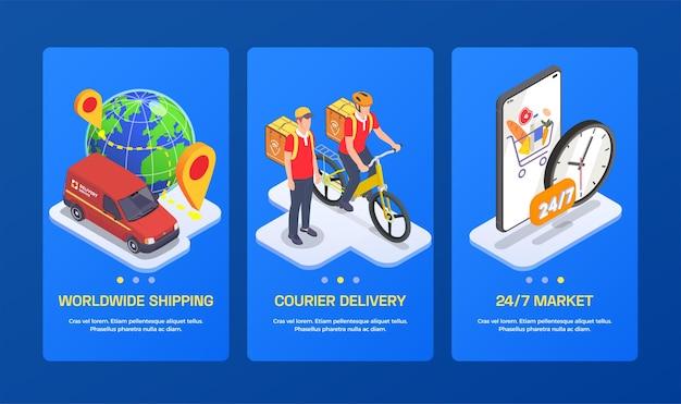 Illustration de la composition isométrique du service de la société de livraison