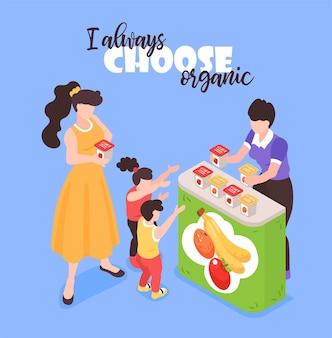 Illustration de composition isométrique de promoteur de légumes fruits frais