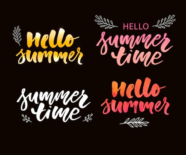 Illustration: composition de lettrage de brosse de vacances d'été sur fond blanc. ensemble