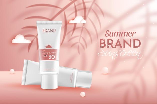 Illustration de composition réaliste de publicité de produit cosmétique biologique