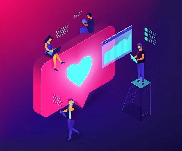 Illustration de concept 3d isométrique d'engagement des médias sociaux.