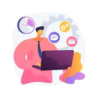 Illustration de concept abstrait administrateur de compte. administration de compte logiciel, travail d'administrateur en ligne, traitement des requêtes, gestion de plateforme, gestionnaire de flux