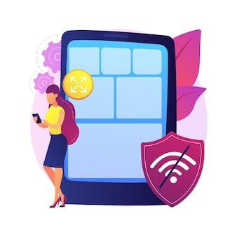 Illustration de concept abstrait d'application web progressive. travail web hors ligne, développement d'applications pwa, application native comme expérience, connectivité indépendante, données légères.