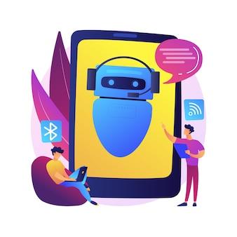 Illustration de concept abstrait assistant virtuel chatbot. internet, robot intelligent en ligne, conversation d'appareil, boîte de dialogue multimédia, projet système, technologie, application logicielle web.