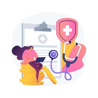 Illustration de concept abstrait d'assurance maladie. contrat d'assurance maladie, frais médicaux, formulaire de demande de réclamation, consultation d'un agent, signature d'un document, couverture d'urgence