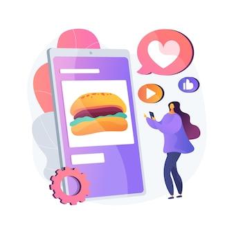 Illustration de concept abstrait de blogging alimentaire. revue de chasseur de nourriture, photos appétissantes, médias sociaux, attirer des abonnés, article de blog, cuisine en ligne, streaming, cuisine de rue