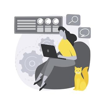 Illustration de concept abstrait de bureau à domicile de travail.