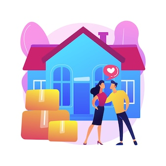 Illustration de concept abstrait de cohabitation. vivre ensemble, accord de cohabitation, union de fait, couple charmant, colocataire à l'université, déménager ensemble.