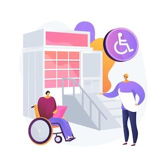 Illustration de concept abstrait de conception d'environnement accessible. zone adaptée aux personnes handicapées, ville intelligente, accès sans obstacles, rampe d'entrée, panneau en braille, lieu public et transports