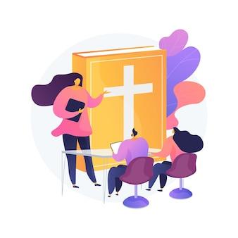 Illustration de concept abstrait de conférences théologiques. conférences religieuses en ligne, cours d'études, penseurs chrétiens, école de divinité, doctrine de dieu, pères d'église