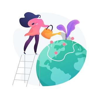 Illustration de concept abstrait de conservation des terres. santé des terres, protection de la faune, zone de conservation, parc national, forêt sauvage, paysage naturel, préservation des forêts