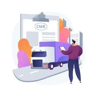 Illustration de concept abstrait de documents de transport routier