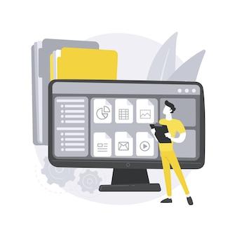 Illustration de concept abstrait doux de gestion de documents.