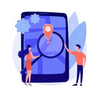 Illustration de concept abstrait doux de suivi mobile