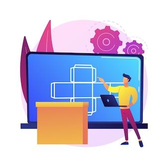 Illustration de concept abstrait emballage numérique. technologie numérique, logiciel 3d, étiquettes ar, outil marketing, attirer le client, réalité augmentée, personnaliser la commande