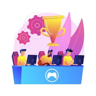 Illustration de concept abstrait équipe cybersport. tournoi de jeux électroniques, meilleure équipe d'esports, paris cybersport, club informatique, arène de bataille, qualification de coupe, performance d'équipe