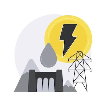 Illustration de concept abstrait hydroélectrique.