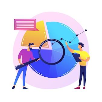 Illustration de concept abstrait initiative de données. plateforme ouverte, initiative d'information, étude de métadonnées, démarrage basé sur les données, recherche et développement, politique de confidentialité.