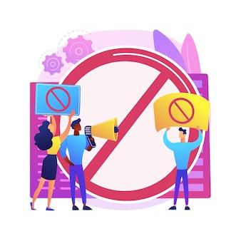 Illustration de concept abstrait de jeu public. réaction du public, préjugés et discrimination, droits des minorités, protestation de groupe