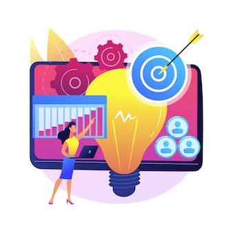 Illustration de concept abstrait de lancement de projet. documentation du projet, analyse commerciale, vision et portée, déterminer les objectifs, l'attribution des tâches, le calendrier et le calendrier