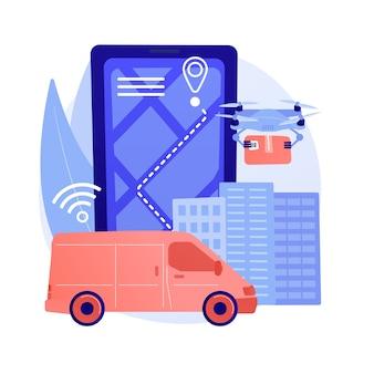 Illustration de concept abstrait de livraison autonome
