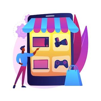 Illustration de concept abstrait de marché aux puces en ligne. marché vintage en ligne, vente aux enchères de puces numérique, bonne plateforme de commerce électronique utilisée, commerce de seconde main, boutique internet d'antiquités.