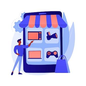 Illustration de concept abstrait de marché aux puces en ligne