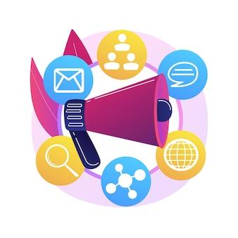 Illustration de concept abstrait marketing de diversité. stratégie marketing inclusive, approche publicitaire personnalisée, communication différente, marché mondial, engagement