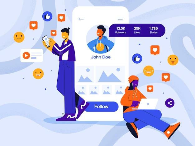 Illustration de concept abstrait de médias sociaux