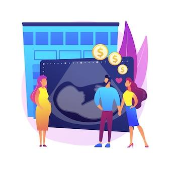 Illustration de concept abstrait mère de substitution. portant enfant, femme enceinte, abdomen féminin, mère biologique, devenir parents, adoption, couple heureux attend bébé