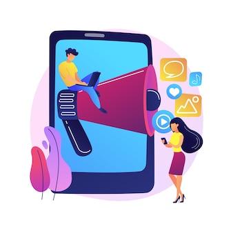 Illustration de concept abstrait de nouvelles et de conseils sur les médias sociaux. marketing sur les réseaux sociaux, actualités sur les algorithmes, profil de promotion, conseils d'engagement, dernières mises à jour, conseils sur le contenu.