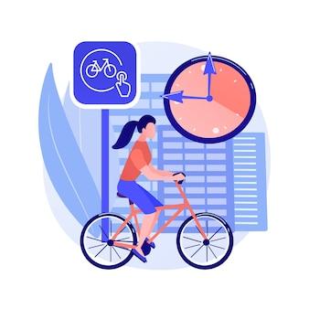 Illustration de concept abstrait de partage de vélo