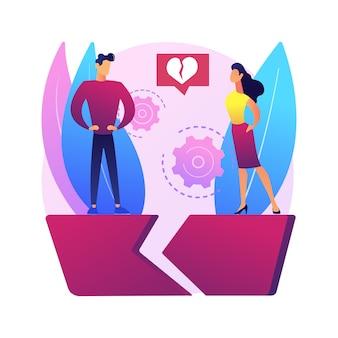 Illustration de concept abstrait de personne séparée. séparation légale, couple divisé, en dehors du conjoint, rupture, accord de divorce, garde d'enfants, cœur brisé, aimer les gens.