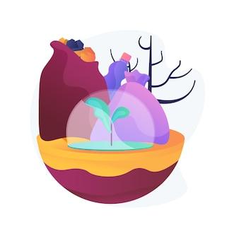 Illustration de concept abstrait de pollution des sols. dégradation des terres, pollution des eaux souterraines, contamination des sols, produits chimiques agricoles, analyse des polluants toxiques