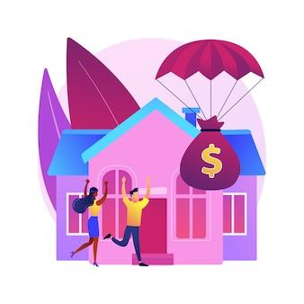 Illustration de concept abstrait de programme de secours hypothécaire. réduire ou suspendre les paiements hypothécaires, la modification de prêt, l'aide gouvernementale, le budget du propriétaire du logement, l'assurance des risques