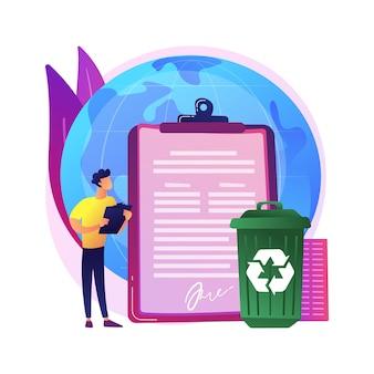 Illustration de concept abstrait de recyclage mandaté par le gouvernement. réglementations écologiques, loi locale sur le recyclage, déchets solides municipaux, matériaux recyclables, programme en bordure de rue