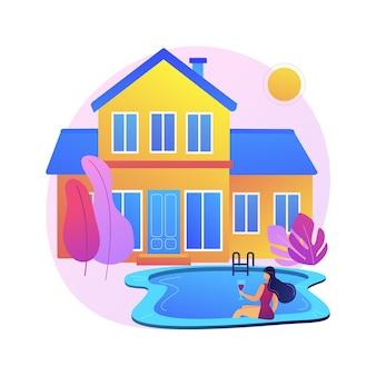 Illustration de concept abstrait de résidence privée. maison de résidence unifamiliale, maison de ville privée, type d'habitation, propriété foncière environnante, marché immobilier.