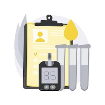 Illustration de concept abstrait de résultats d'examen de diabète.