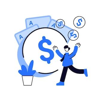 Illustration de concept abstrait de revenu de jeu. imposition